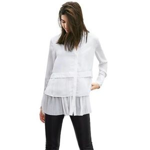 Banana Republic pleated tiered button down shirt